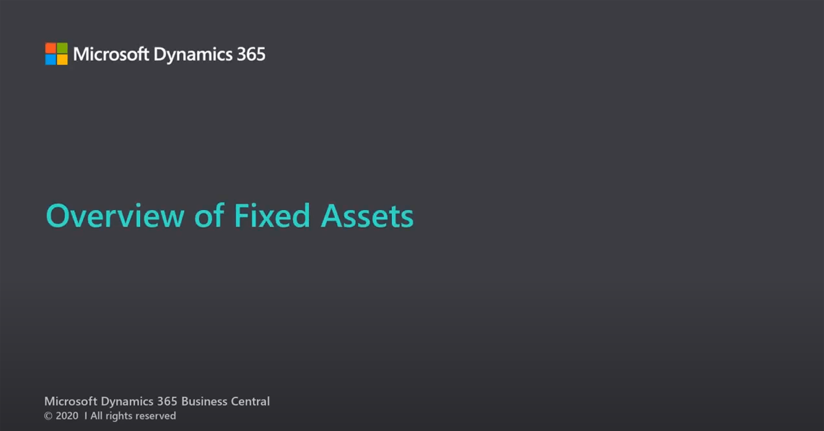 Dynamics 365 Business Central Fixed Assets