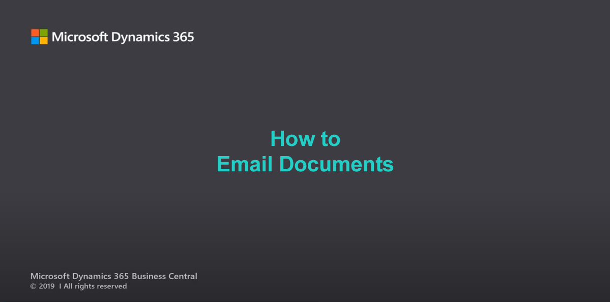 D365BC Email Documents