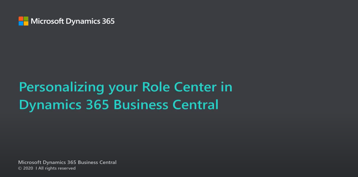 How to Personalize Role Center in Dynamics 365 Business Central