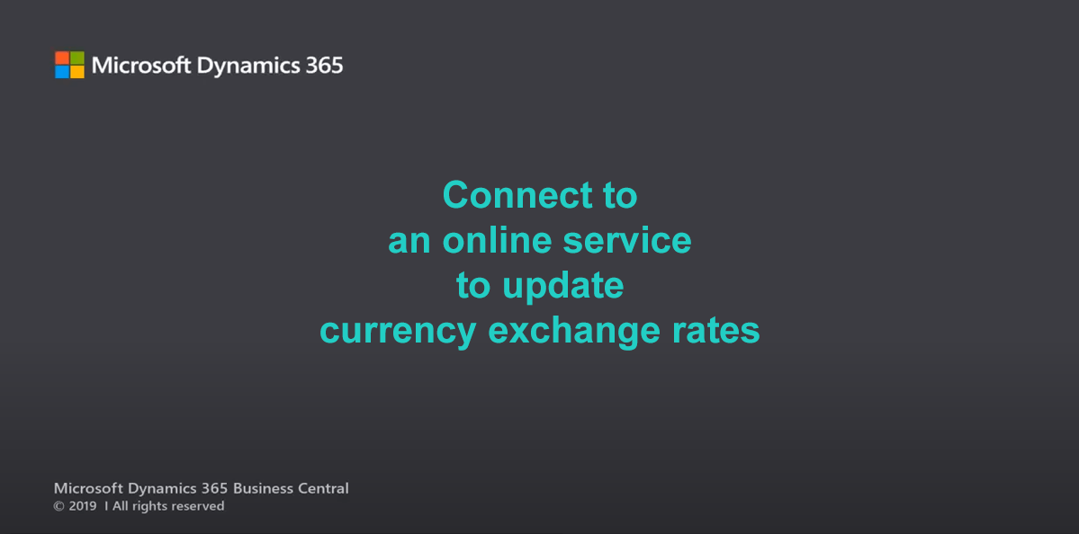 d365bc currency exchange rate